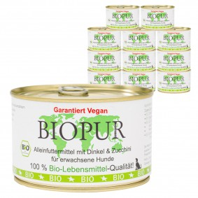 BIOPUR Hundefutter Bio Vegan Dinkel, Zucchini 12x400g