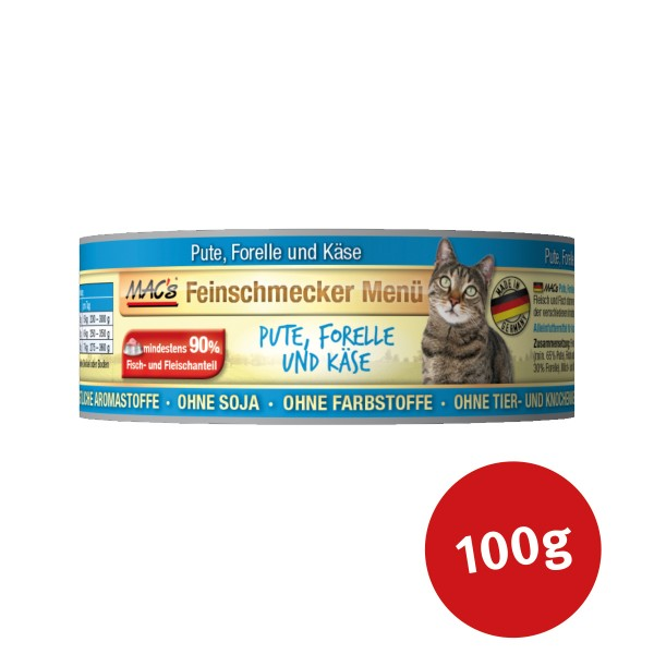 MAC's Cat Katzenfutter Feinschmecker Menü Pute, Forelle und Käse