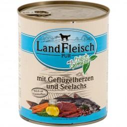 Landfleisch Nassfutter Dog Pur Geflügelherzen & Seelachs
