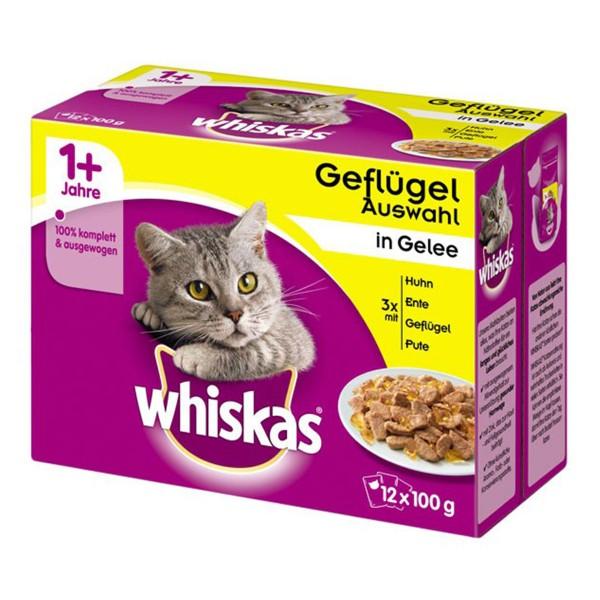 Whiskas Katzenfutter 1+ Geflügelauswahl in Gelee 12x100g