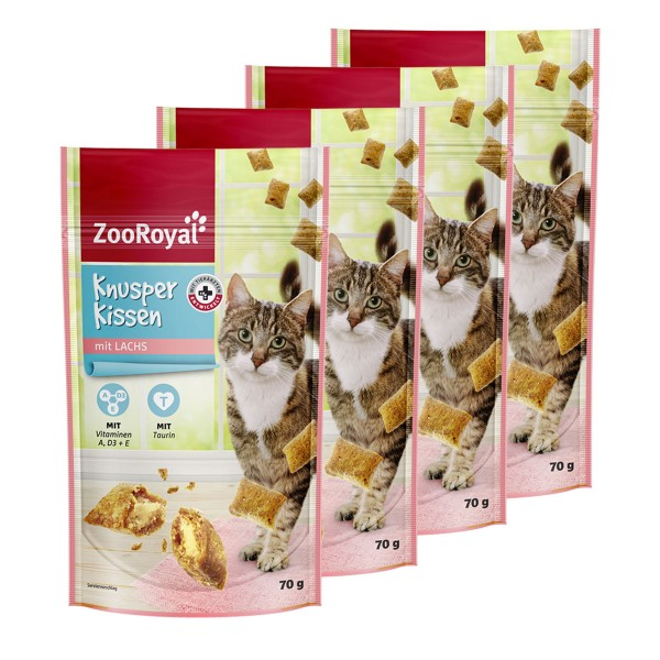 ZooRoyal Katzensnack Knusperkissen mit Lachs 4x70g